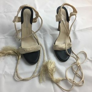 Brian Atwood ivory knit sandals - 5inch heel -sz39